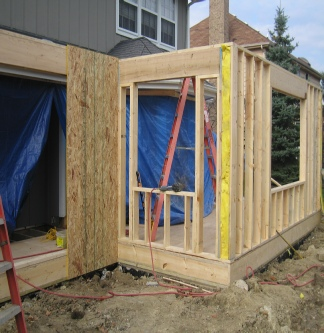 First day of framing for addition in Naperville. IL